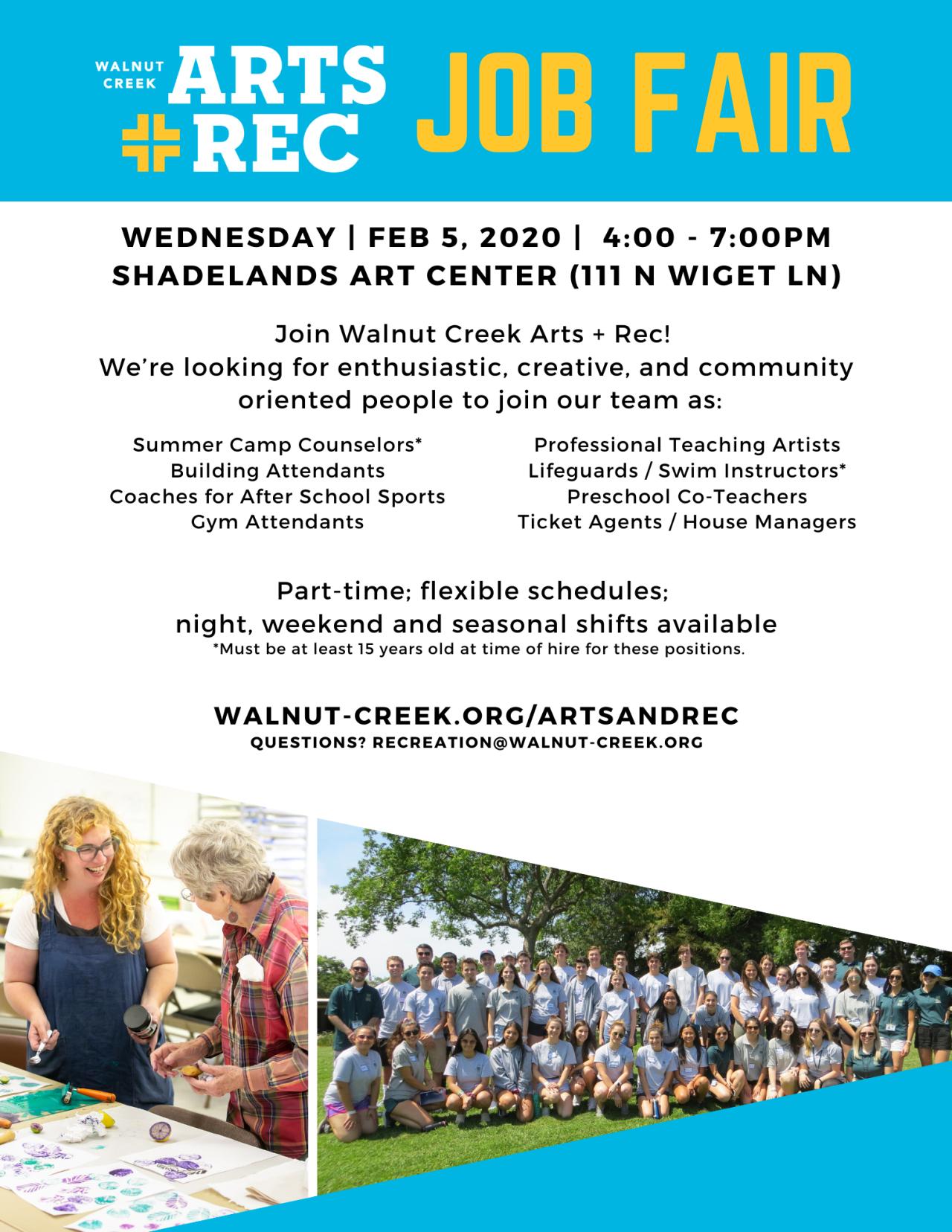 Arts Rec Job Fair City Events Calendar City Of Walnut Creek